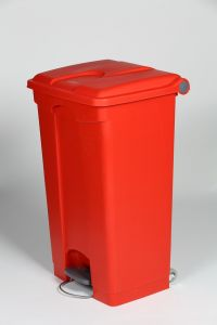 90L Mobile Pedal Waste Bin Red