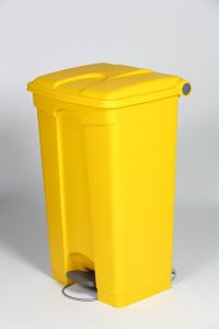 90L Mobile Pedal Waste Bin In Yellow