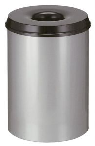 15L Fireproof Waste Paper Bin In Aluminium With Black Lid