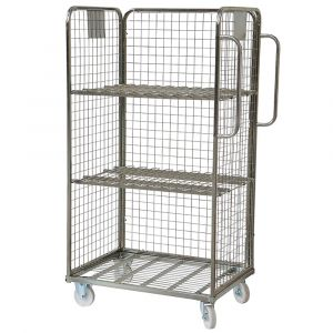 Three Sided Merchandise Picking Trolley with 2 Shelves