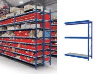 3 Shelf Longspan Extension Bays - 1200mm Wide, Steel Decks