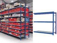 3 Shelf Longspan Extension Bays - 2400mm Wide, Steel Decks