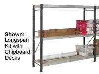 3 Shelf Longspan Starter Bays - 2100mm Wide, Steel Decks