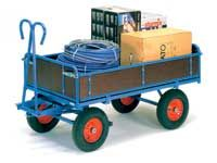 Fetra 4-sided hand Truck 1200x800 In Blue, pneumatic tyres