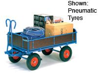 Fetra 4-sided hand truck 1200x800 In Blue, rubber tyres