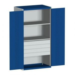 Bott Cubio Kitted Cupboard with Perfo Doors, 4 Drawers and 2 Shelves