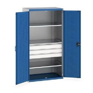 Bott Cubio Kitted Cupboard with Perfo Doors, 3 Drawers and 3 Shelves