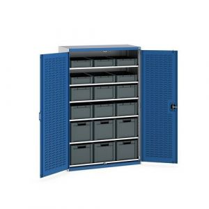 Bott Cubio Bin Cupboard with Louvre Doors, 6 Shelves and 18 piece Eurobox Kit
