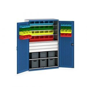 Bott Cubio Bin Cupboard with Louvre Doors, Drawers, Shelves and Bin Kit