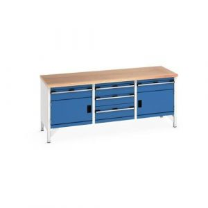 Bott Cubio Storage Bench with 2 Cabinets, 5 Drawers and Multiplex Worktop