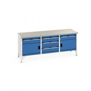 Bott Cubio Storage Bench with 2 Cabinets, 5 Drawers and Lino Worktop