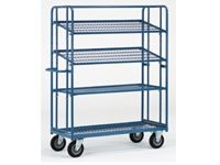 Fetra Adjustable Shelf Trolley 1830x620, 4 mesh shelves