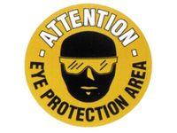 Attn eye protection area - floor marker sign