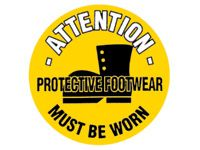 Attn protective footwear must be worn floor marker