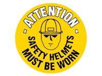 Attn safety helmets must be worn - floor marker