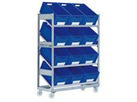 Bin trolley c/w 12 blue containers 600Lx400Wx288H