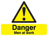 Danger men at work rigid stanchion sign