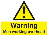 Danger men working overhead rigid stanchion sign