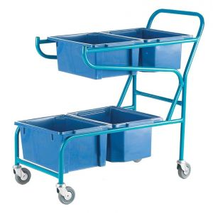 Double Container Trolley, with 4 Blue containers