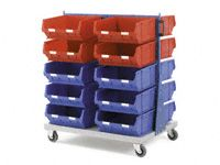 Double Sided Louvre Panel Trollies With Containers
