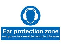 Ear Protection Zone Mandatory Safety Signs - 300 x 500mm