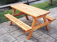 Eight person wooden picnic bench