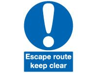 Escape Route Keep Clear Signs - 200 x 150mm