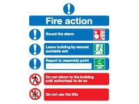 Fire Action Notice Safety Signs - 300 x 250mm