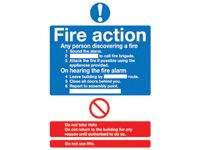 Fire Action Safety Signs - 600 x 450mm