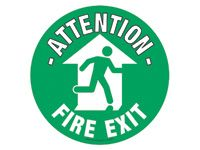 Floor Marker Sign: Attention Fire Exit