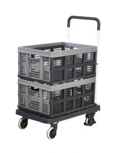 Foldaway Platform Trolley with 2 Folding Boxes