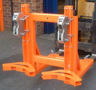 Fork-truck Rim Grip Drum Handler, 2 drums for Forklift