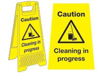 Freestanding Janitorial Sign, Caution cleaning