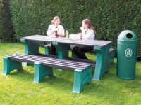 Outdoor table + 2x 4 person bench set