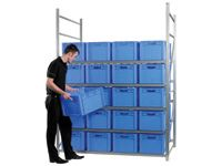 Shelving Bay 4 boxes wide x 4 levels c/w 32 bins