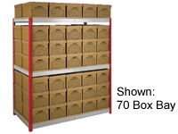Shelving bay c/w 60 archive boxes
