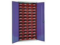 Steel storage cabinet, model 3 with red bins (1)