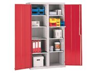 Steel tool cupboard with 8 shelves