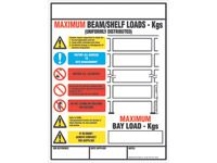 Weight load notice 215x220 for racking/shelving