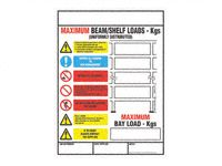 Weight load notice 470x350 for racking / shelving