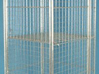 Wire formed shelf for nestable roll containers