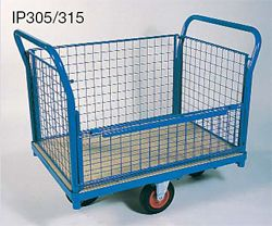 Wire mesh Box Truck angle framed, half open sided