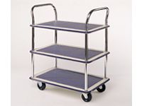 3 tray Trolley, non-slip PVC covered steel trays