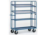 Fetra Adjustable Shelf Trolley 1430x620, 4 mesh shelves