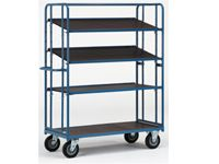 Fetra Adjustable Shelf Trolley 1430x620, 4 x ply shelves