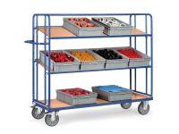 Fetra Adjustable Shelf Trolley 1830x620, 3 x ply shelves