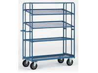 Fetra Adjustable Shelf Trolley 1830x620, 4 mesh shelves