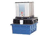 Forkliftable Polyethylene IBC Sump Pallets Galv or Poly Grid