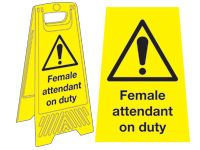 Freestanding Janitorial Sign, Caution female