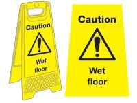 Freestanding Janitorial Sign, Caution, wet floor